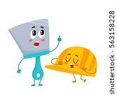 funny hand trowel pointing up... | Shutterstock .eps vector #563158228
