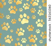 paw print seamless. traces of... | Shutterstock .eps vector #563161060