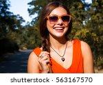 closeup portrait of pretty girl ... | Shutterstock . vector #563167570