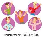 vector set of round purple... | Shutterstock .eps vector #563174638