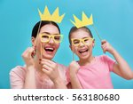 funny family on a background of ... | Shutterstock . vector #563180680