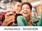 happy multiracial couple of... | Shutterstock . vector #563181838