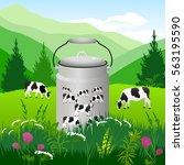 vector illustration. white cows ... | Shutterstock .eps vector #563195590
