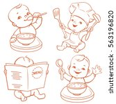 baby food. set of vector... | Shutterstock .eps vector #563196820