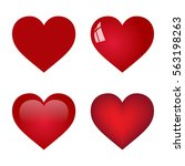 red vector heart collection on... | Shutterstock .eps vector #563198263