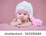 beautiful little girl in pink... | Shutterstock . vector #563200684