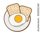 fried egg and loaf over white... | Shutterstock .eps vector #563202160