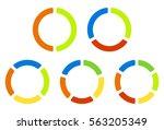 set pie charts  graphs in 2 3 4 ... | Shutterstock . vector #563205349