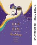 indian wedding invitation card... | Shutterstock .eps vector #563218678