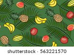 seamless pattern tropical... | Shutterstock .eps vector #563221570