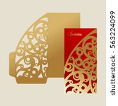 laser cut template the envelope.... | Shutterstock .eps vector #563224099