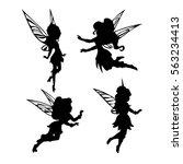 cute fairies silhouette... | Shutterstock .eps vector #563234413