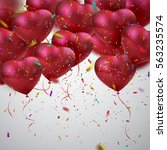 balloon hearts. vector holiday... | Shutterstock .eps vector #563235574