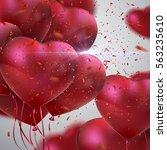 balloon hearts. vector holiday... | Shutterstock .eps vector #563235610