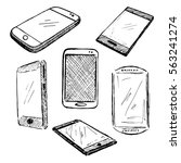 sketch different phones ... | Shutterstock .eps vector #563241274