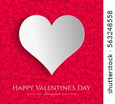 valentines day card with white... | Shutterstock .eps vector #563248558