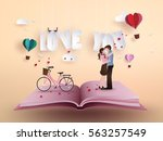 illustration of love and... | Shutterstock .eps vector #563257549