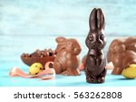chocolate easter bunnies on... | Shutterstock . vector #563262808