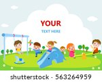 children playing in the public... | Shutterstock .eps vector #563264959