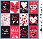 Stock vector vector card set for valentines day black red and white poster collection with hand written brush 563267479