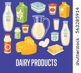 dairy products banner with... | Shutterstock .eps vector #563285914