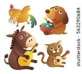 set illustration of cute... | Shutterstock .eps vector #563290684