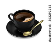 black cup of coffee. vector... | Shutterstock .eps vector #563291368