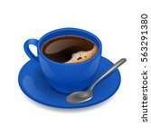 blue cup of coffee. vector clip ... | Shutterstock .eps vector #563291380
