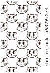 Vector Cat Face Cute Pattern...