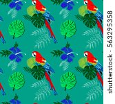 parrot sitting on branch of ... | Shutterstock .eps vector #563295358