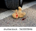 soft toy bear in the blood... | Shutterstock . vector #563305846