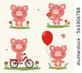 vector set funny piggy plays in ...   Shutterstock .eps vector #563306788