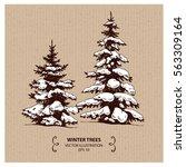 winter snowy trees. hand drawn...