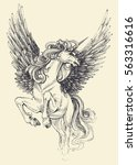 unicorn vector drawing.... | Shutterstock .eps vector #563316616