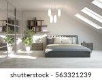 white modern bedroom.... | Shutterstock . vector #563321239