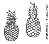 set of pineapple icons isolated ... | Shutterstock .eps vector #563323900