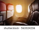 lonely travel by airplane to... | Shutterstock . vector #563324236