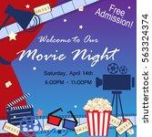 cinema event card. flat movie... | Shutterstock .eps vector #563324374