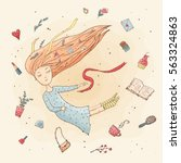 the girl in a dream. flight.... | Shutterstock .eps vector #563324863