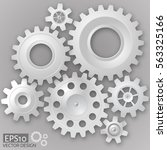 white 3d gears  on the gray...   Shutterstock .eps vector #563325166