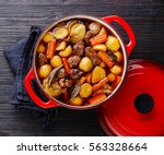 beef meat stewed with potatoes  ... | Shutterstock . vector #563328664