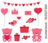 valentine's day set of vector... | Shutterstock .eps vector #563337364