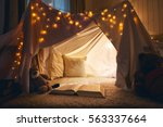 room of children empty tent... | Shutterstock . vector #563337664
