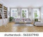 3d rendering. modern living... | Shutterstock . vector #563337940