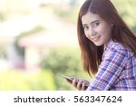 young beautiful engineer woman... | Shutterstock . vector #563347624