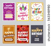 happy birthday set. | Shutterstock .eps vector #563348980