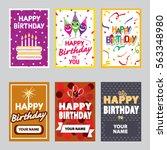 happy birthday set. | Shutterstock .eps vector #563348980