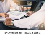 business man signing a contract.... | Shutterstock . vector #563351053