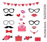 valentine photo booth vector... | Shutterstock .eps vector #563351056