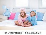 happy laughing kids  boy and... | Shutterstock . vector #563351524